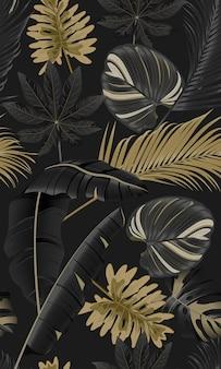 Hojas tropicales de lujo de patrones sin fisuras