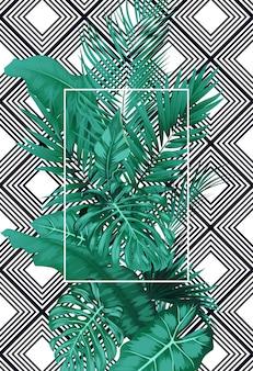 Hojas tropicales y marco cuadrado en patrón.