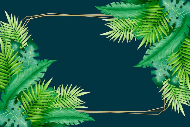 Hojas tropicales y marco de espacio de copia
