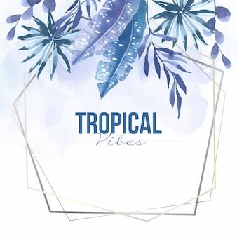 Hojas tropicales con marco plateado