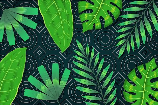 Hojas tropicales con papel pintado geométrico