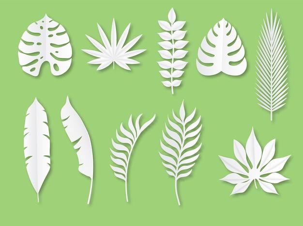 Hojas tropicales de papel plantas exóticas en papel blanco tropical de estilo moderno de origami
