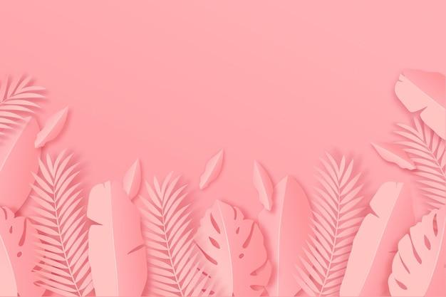 Hojas tropicales en papel