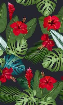 Hojas tropicales de patrones sin fisuras con flor de hibisco rojo