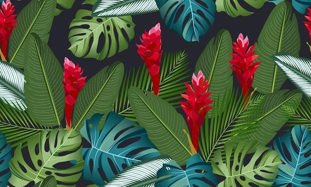 Hojas tropicales de patrones sin fisuras con flor de jengibre