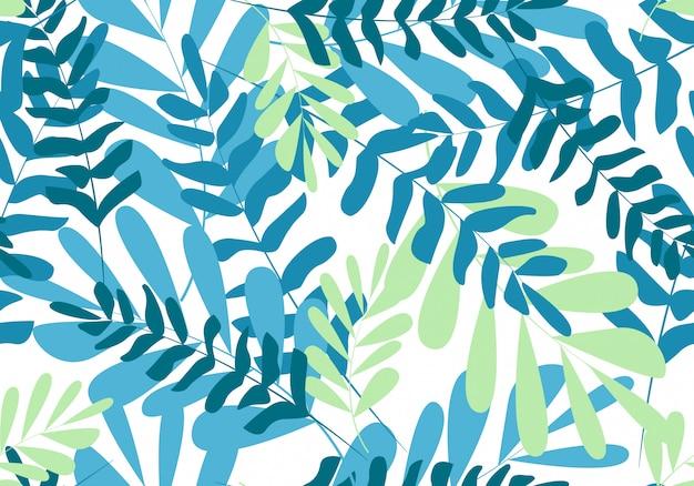 Hojas tropicales de patrones sin fisuras florales