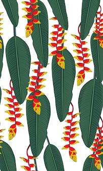 Hojas tropicales de patrones sin fisuras con heliconia