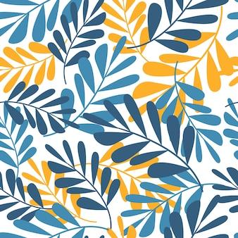 Hojas tropicales de patrones sin fisuras, moda, interior, concepto de embalaje. ilustración vectorial contemporánea