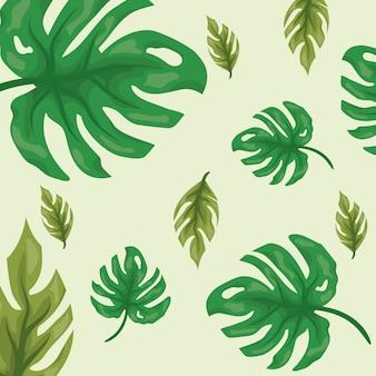Hojas tropicales verdes con dos tonos de patrón verde y natural.