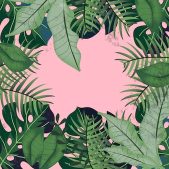 Hojas tropicales verdes sobre fondo rosa