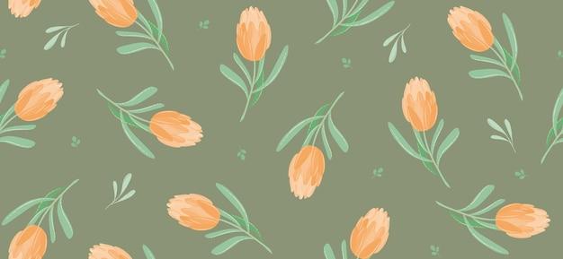 Hojas y tulipanes de patrones sin fisuras de vector de verano