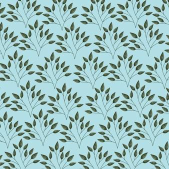 Hojas verdes y azules, ilustración de patrón