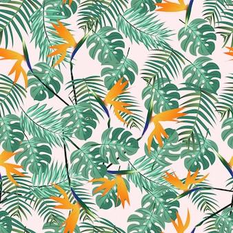 Hojas verdes y patrones sin fisuras de ave del paraíso