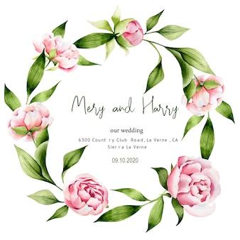 Hojas verdes y plantillas de boda de peonía, ahorre fecha, primavera