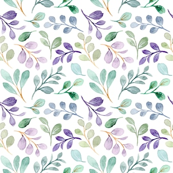 Hojas verdes púrpuras acuarela de patrones sin fisuras