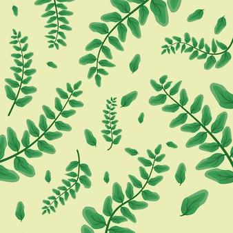Hojas verdes tropicales en blanco
