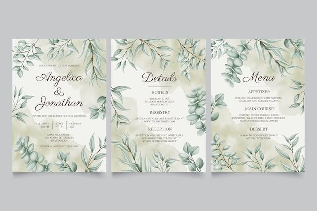 Hojas vintage para colección de plantillas de tarjeta de invitación de boda