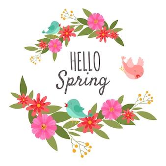 Hola adorno de primavera con flores y pájaros