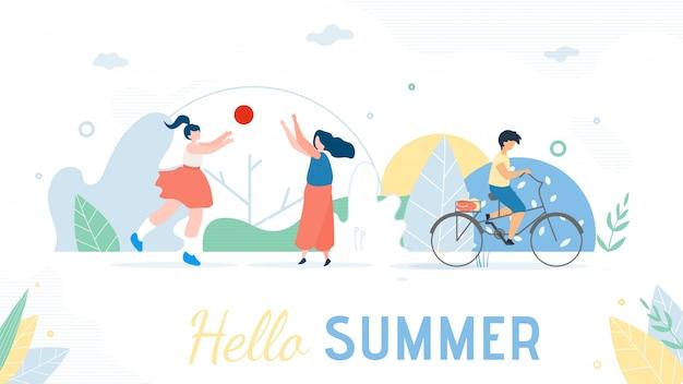 Hola bandera de saludo de verano. gente descansando dibujos animados