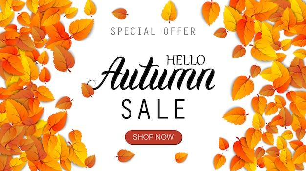 Hola banner de letras de venta de otoño. cartel de descuento de oferta especial con hojas doradas de otoño. plantilla de diseño de temporada de otoño
