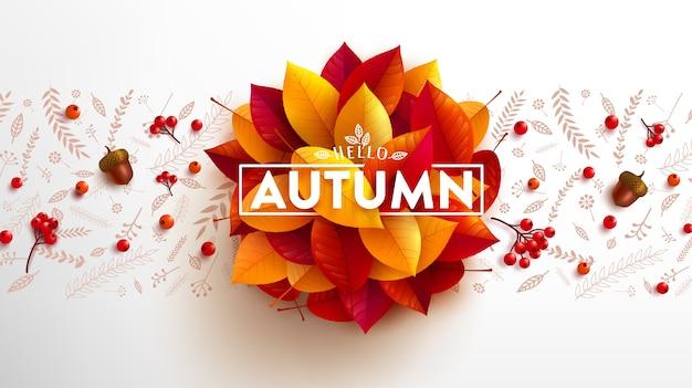 Hola banner de otoño con bellotas y hojas de colores otoñales.