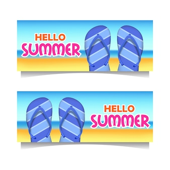 Hola banner de playa verano