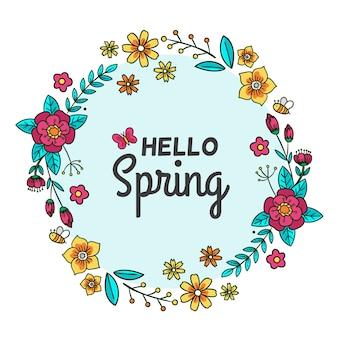 Hola banner de primavera con flores