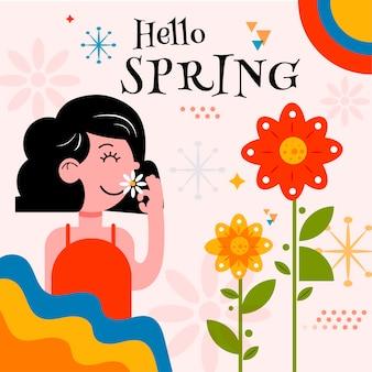 Hola banner de primavera con mujer que huele a flor