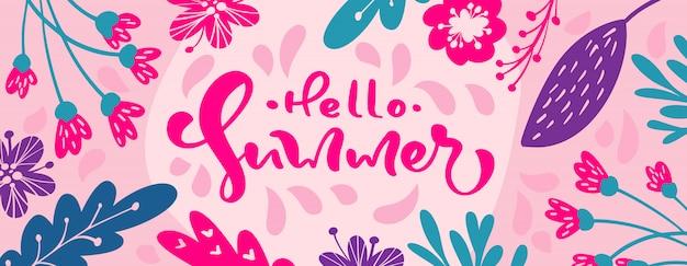 Hola banner de texto de letras de caligrafía de verano