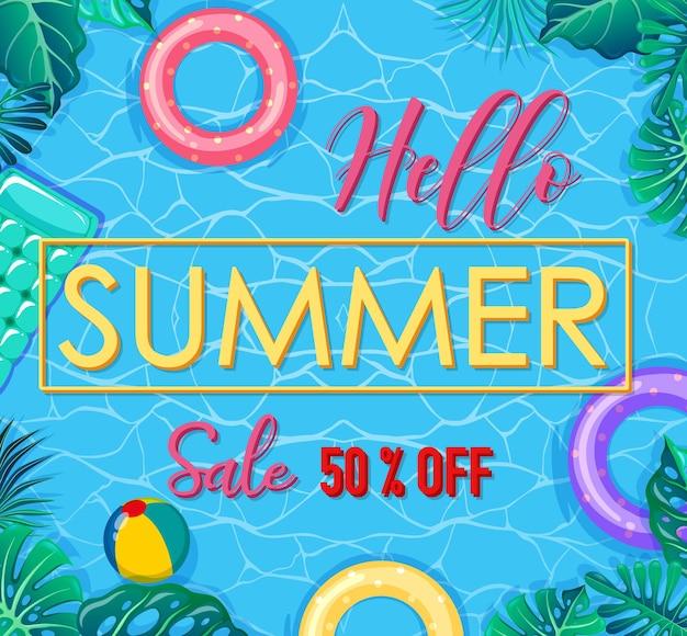 Hola banner de venta de verano con elementos de verano