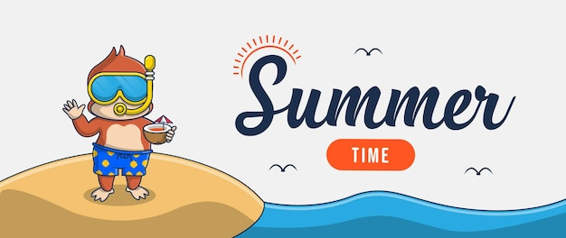 Hola banner de verano con diseño de personajes de ilustración de mono de vacaciones