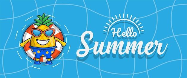 Hola banner de verano con diseño de personajes de ilustración de piña de natación