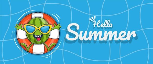 Hola banner de verano con diseño de personajes de ilustración de sandía de natación