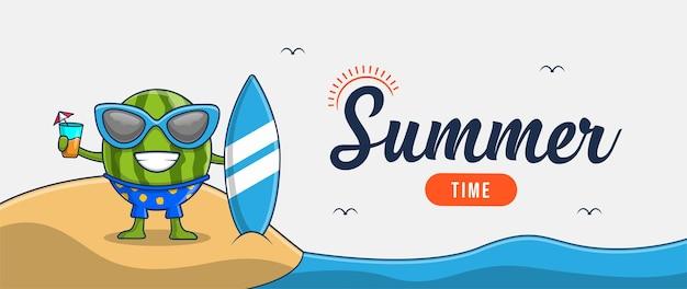 Hola banner de verano con diseño de personajes de ilustración de sandía de vacaciones en la playa
