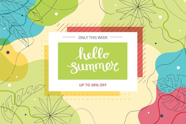 Hola banner de verano con hojas tropicales y formas abstractas. linda ilustración dibujada a mano