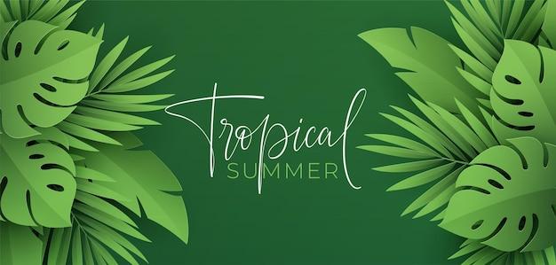 Hola banner de verano con hojas tropicales verdes cortadas en papel de palma monstera