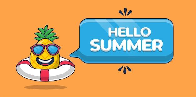 Hola banner de verano con personaje de dibujos animados de piña y neumático de natación