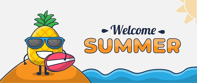 Hola banner de verano con personaje de dibujos animados de piña que va a surfear