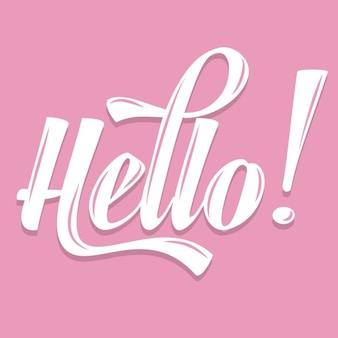 Hola caligráfico rosa