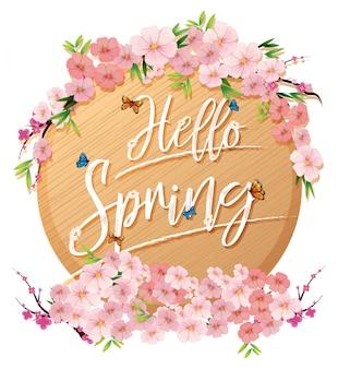 Hola carta de texto de primavera