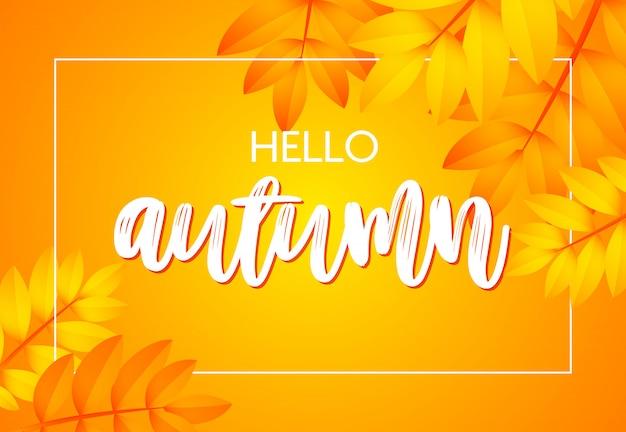 Hola cartel de otoño con amarillo