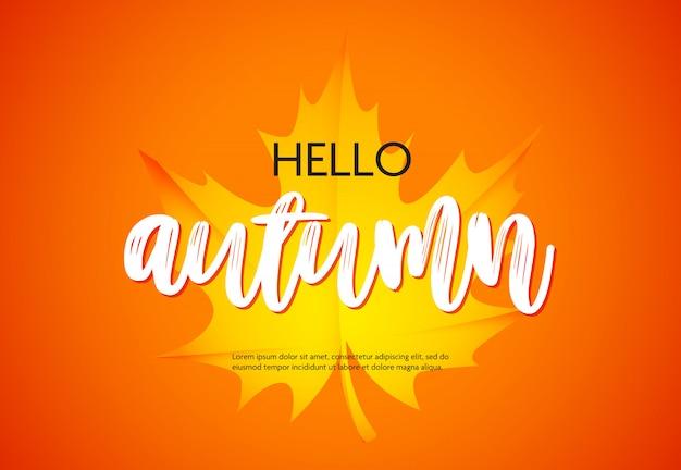 Hola cartel de otoño con hoja de arce amarilla