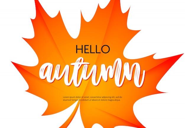 Hola cartel de otoño con muestra de texto