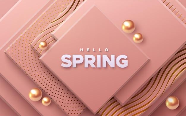 Hola cartel de papel de primavera sobre fondo de cuadrados rosa suave con esferas doradas