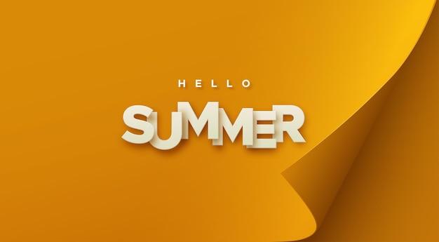 Hola cartel de papel de verano en hoja de papel naranja con esquina curvada
