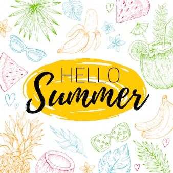 Hola cartel de tarjeta de verano con texto, hoja tropical de patrones sin fisuras. dibujado a mano doodle flyer con símbolos de verano elemento paraíso para invitación de fiesta, diseño de impresión. fondo de ilustración vectorial