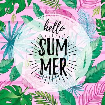Hola cartel de tarjeta de verano con texto, hoja tropical de patrones sin fisuras.