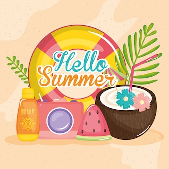 Hola cartel de verano con iconos de vacaciones