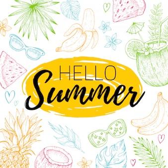 Hola cartel de verano o tarjeta de felicitación con hojas tropicales, alimentos, patrones sin fisuras de frutas. dibujado a mano doodle flyer.