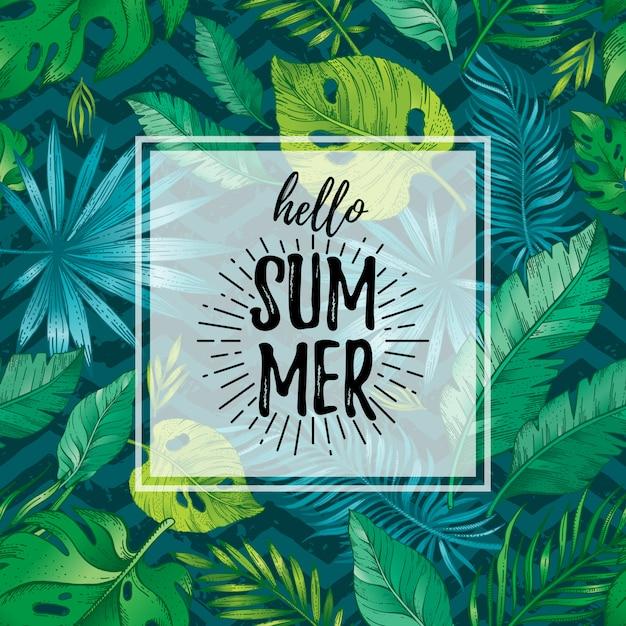 Hola cartel de verano o tarjeta de felicitación con patrones sin fisuras de hoja tropical. dibujado a mano doodle flyer.